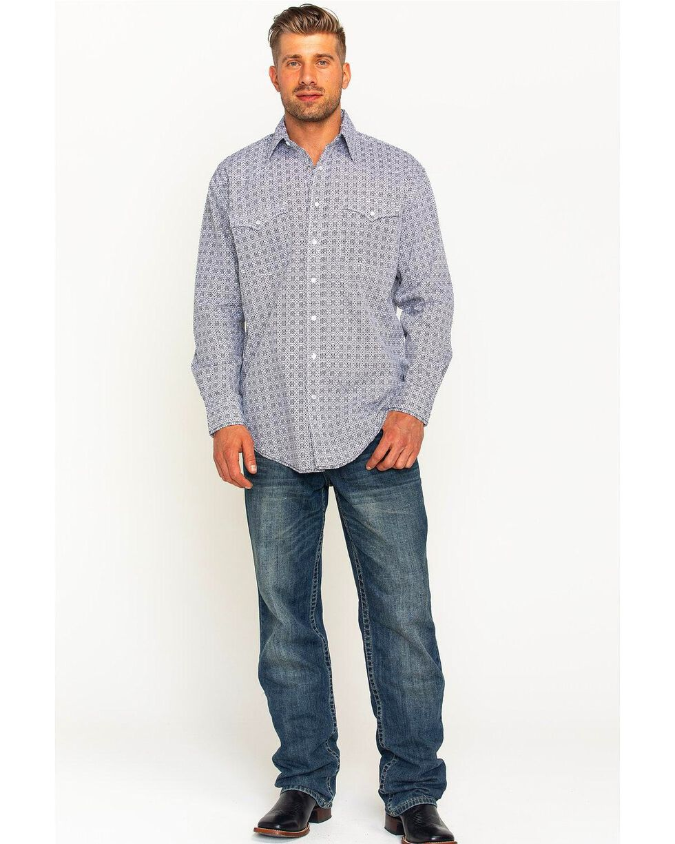 Rough Stock by Panhandle Men's Kelsey Antique Print Long Sleeve Snap Shirt, White, hi-res