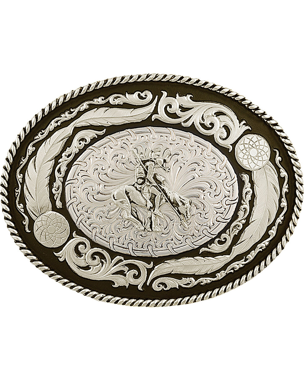 Montana Silversmiths Antiqued Wind Dancer Belt Buckle, Silver, hi-res