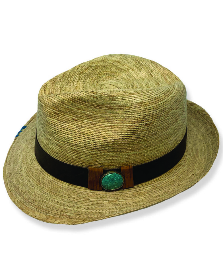 Atwood Kelsey Turquoise Concho Fedora Hat , Natural, hi-res