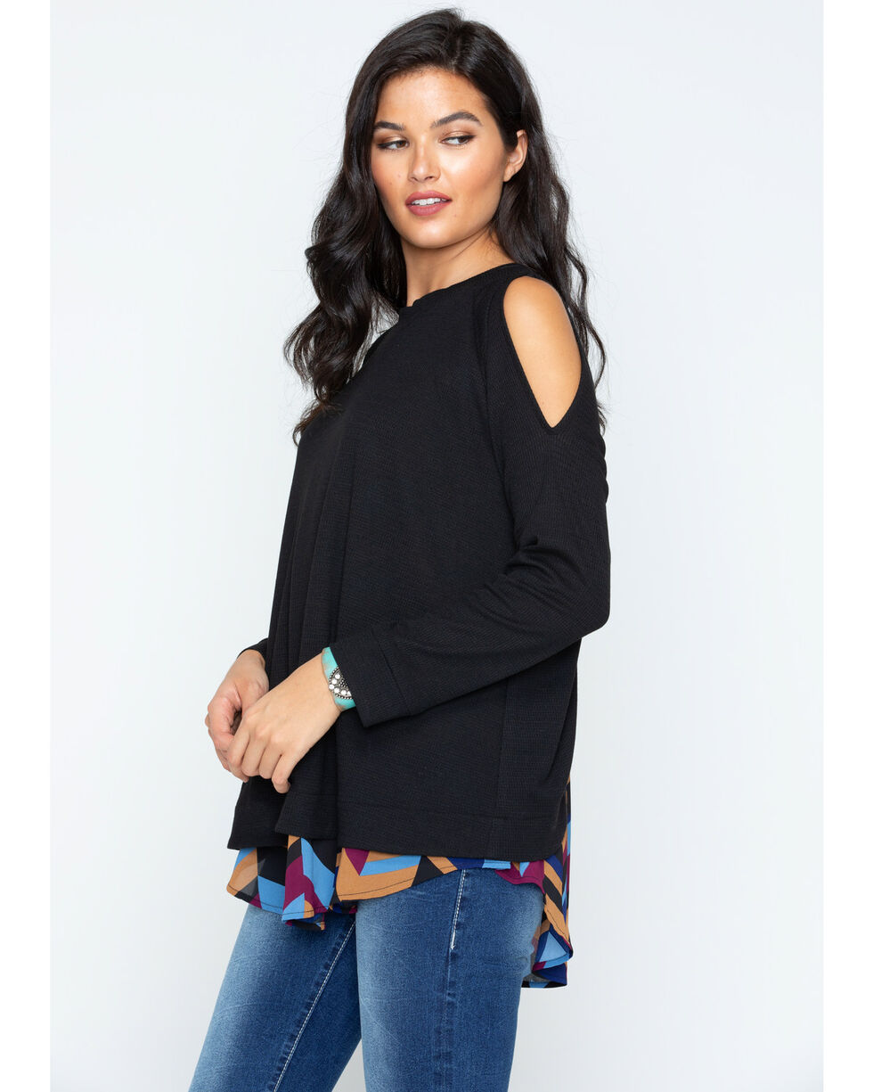 Cowgirl Up Women's Cold Shoulder Print Back Top, Black, hi-res
