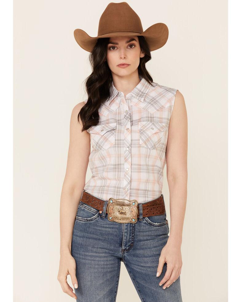 Cumberland Outfitters Women's Peach Plaid Snap Sleeveless Western Shirt, Peach, hi-res