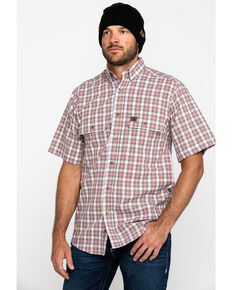 Wrangler Riggs Men's Rust Plaid Short Sleeve Work Shirt - Tall , White, hi-res