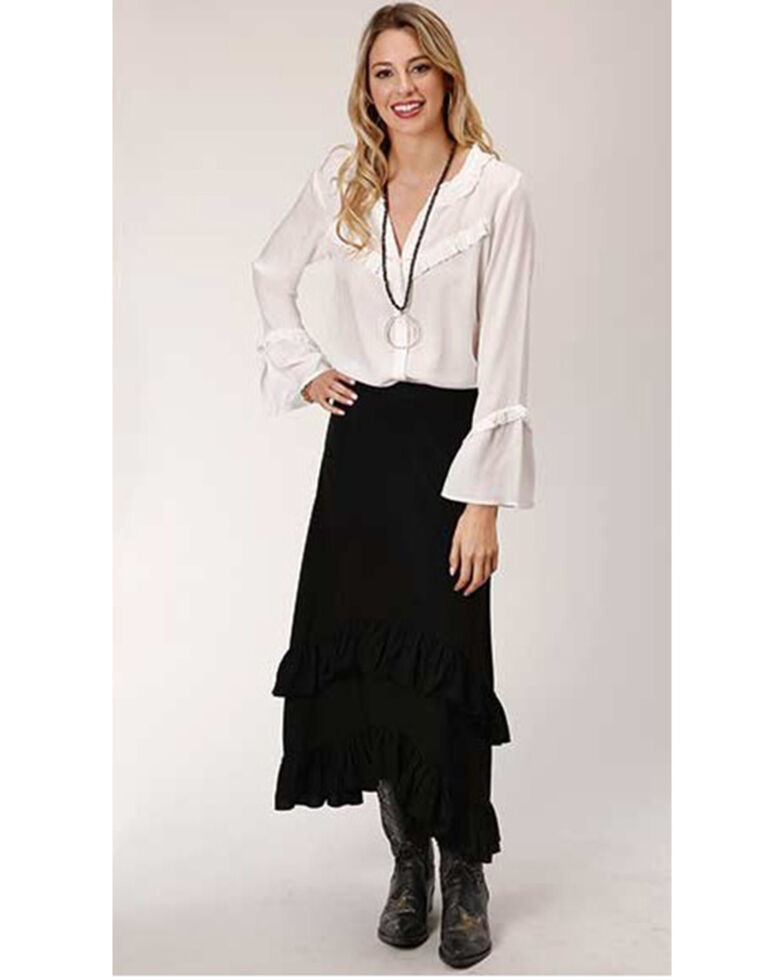 Studio West Women's Hi-Lo Prairie Skirt , Black, hi-res