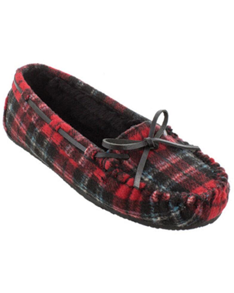 Minnetonka Women's Cally Plaid Slippers, Red, hi-res