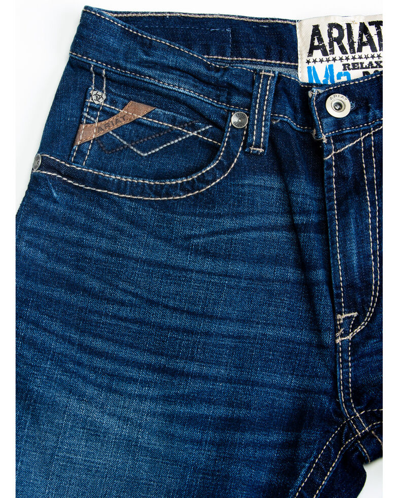 Ariat Men's M2 Denali Clyde Dark Relaxed Bootcut Jeans , Blue, hi-res