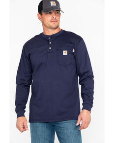 Carhartt Flame Resistant Henley Long Sleeve Work Shirt, Navy, hi-res