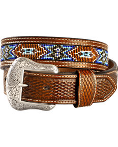Nocona Belt Co. Men's Aztec Beaded Belt, Tan, hi-res