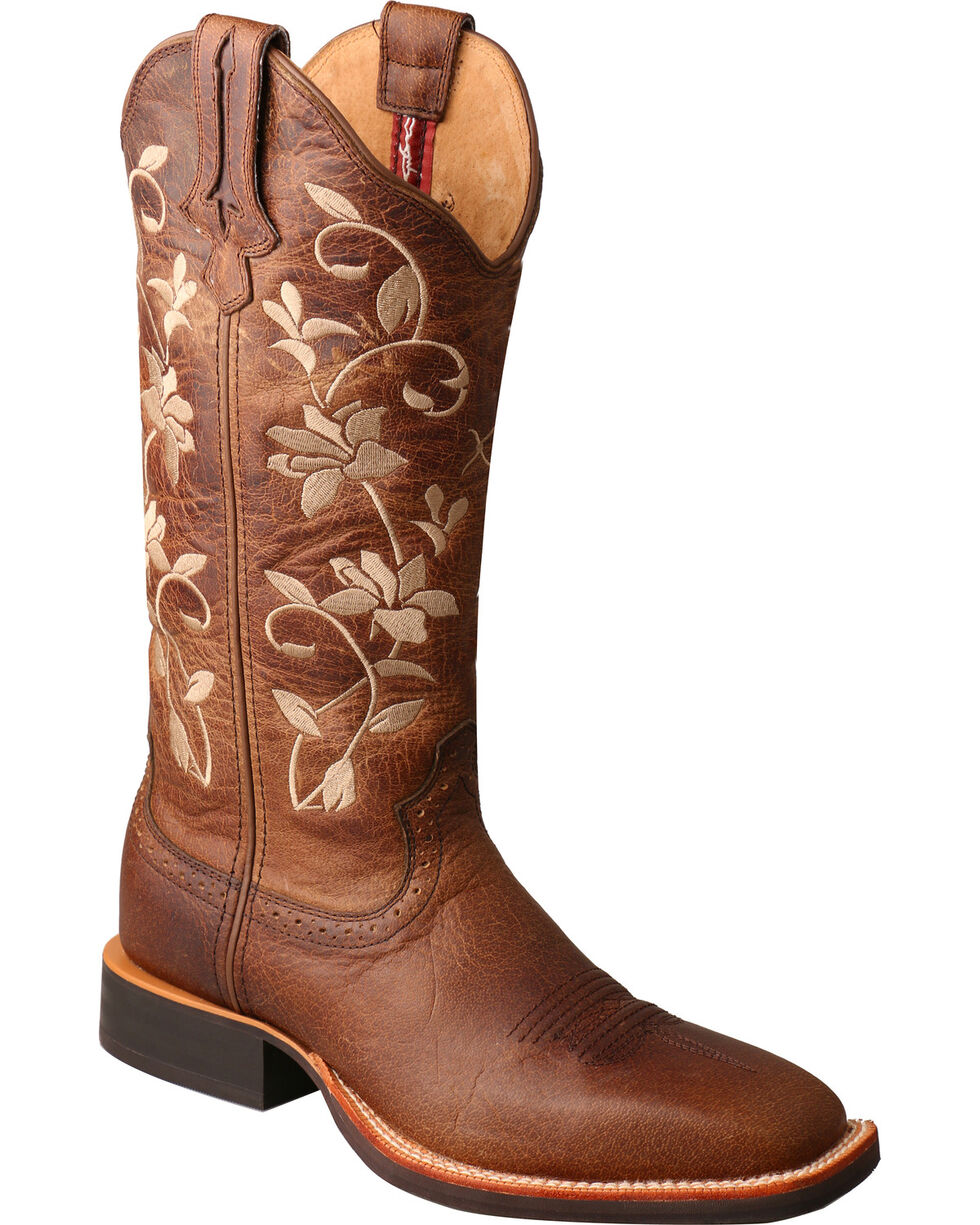 Twisted X Women's Floral Embroidered Western Boots, Brown, hi-res