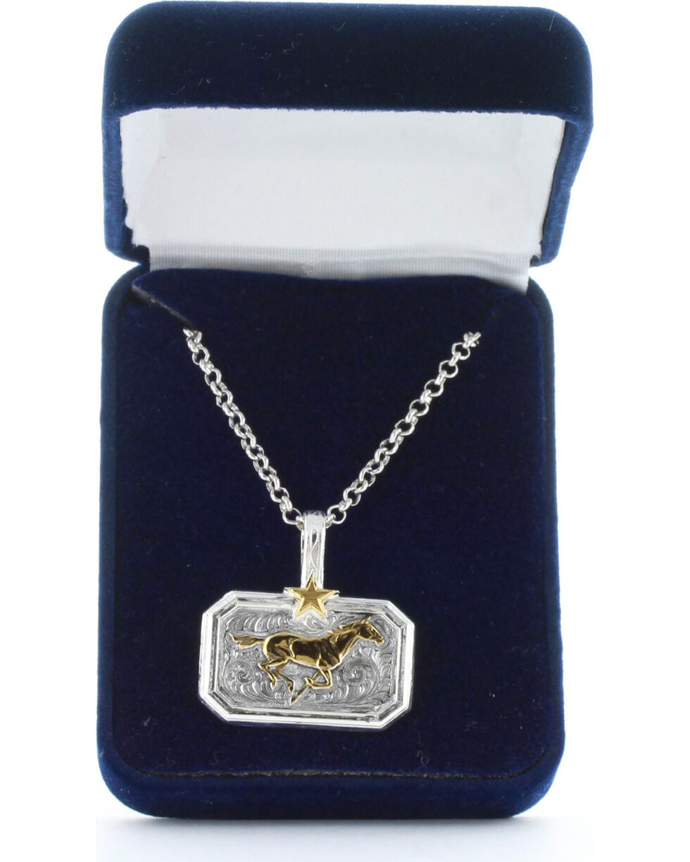 Montana Silversmiths Women's Gold Running Horse Necklace , Gold, hi-res