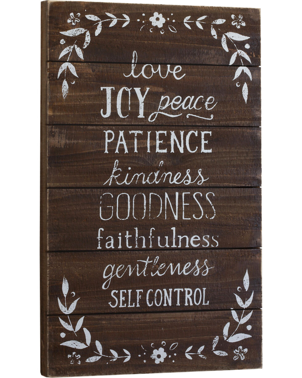 Demdaco Love Joy Peace Patience Wall Art , Brown, hi-res