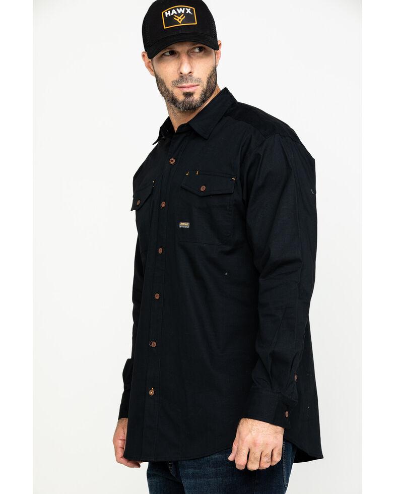 Ariat Men's Rebar Made Tough Durastretch Long Sleeve Work Shirt , Black, hi-res