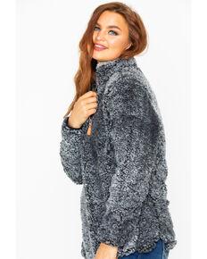 Katydid Women's Sherpa Zip Up Pullover, Black, hi-res