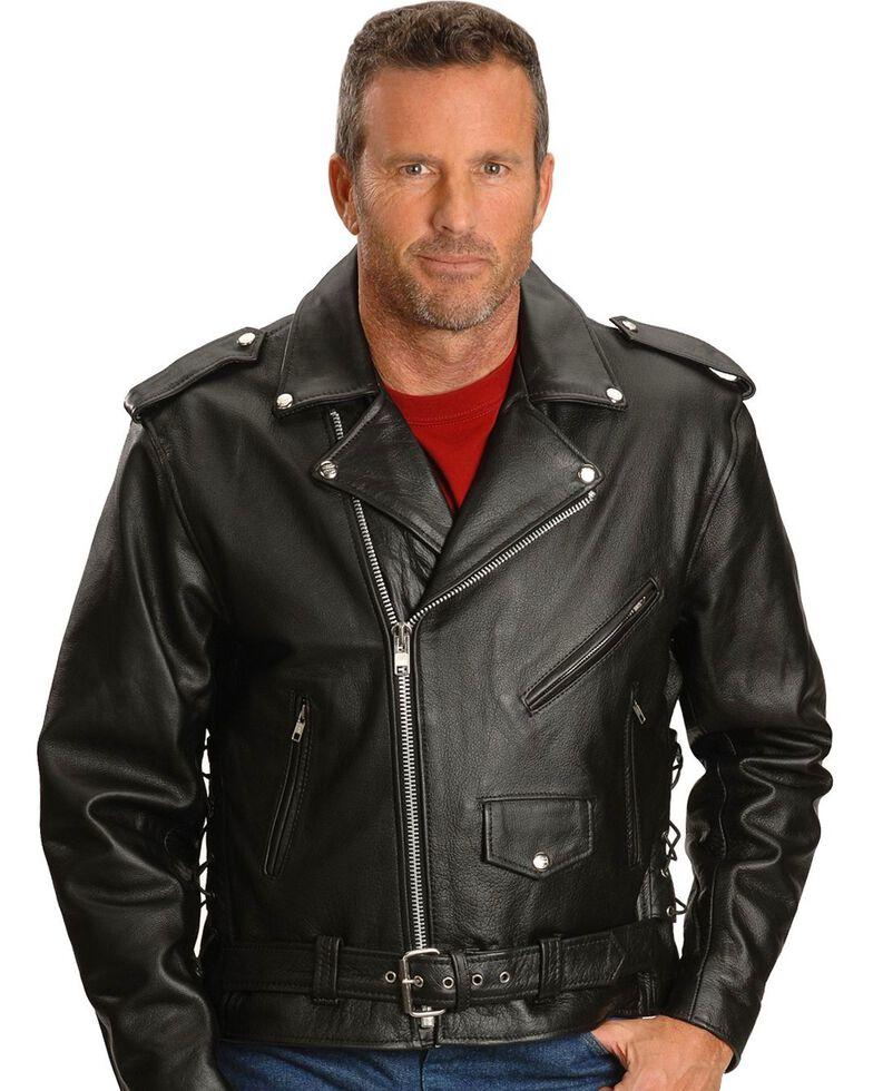 Interstate Leather Men's Ryder Motorcycle Jacket, Black, hi-res