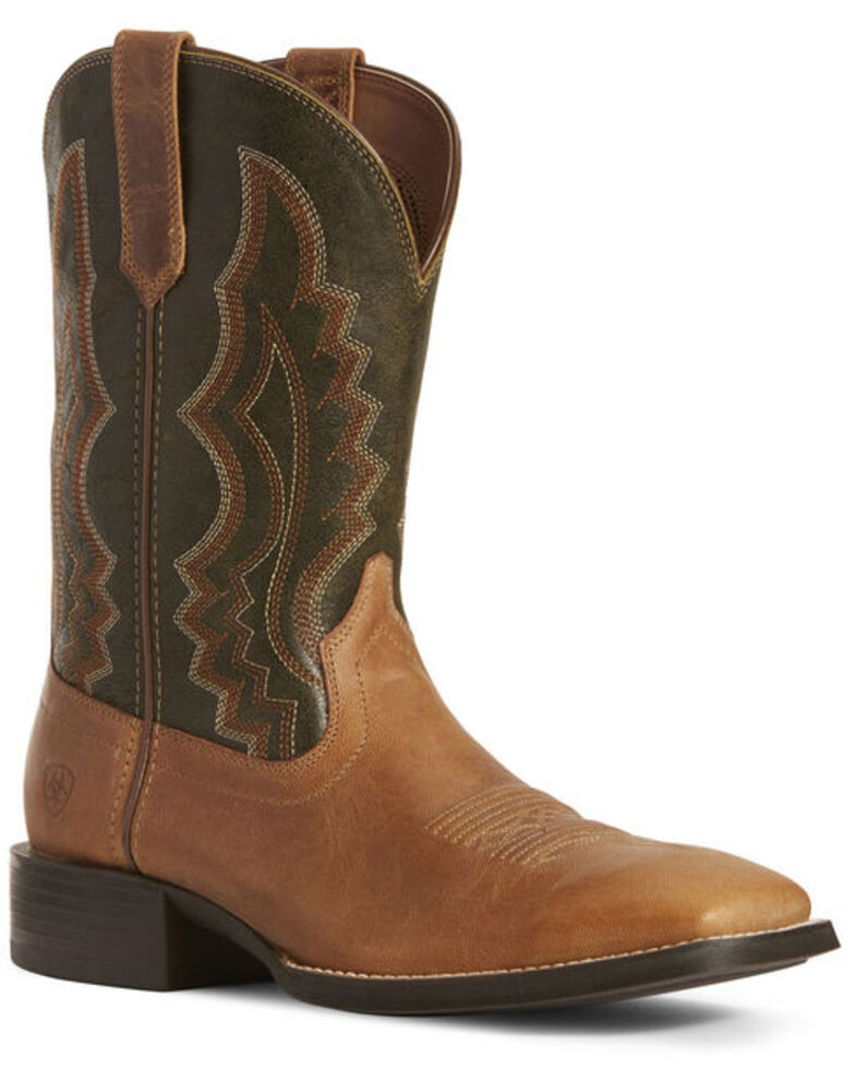 Ariat Men's Sport Riggin Western Boots - Wide Square Toe, Brown, hi-res