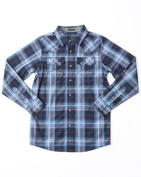 Cody James Boys' Campus Plaid Woven Long Sleeve Shirt , Navy, hi-res