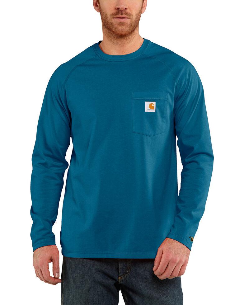 Carhartt Force Long Sleeve Work Shirt, Medium Blue, hi-res
