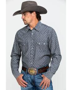 Rock & Roll Cowboy Men's Chambray Print Long Sleeve Western Shirt - Big , Charcoal, hi-res