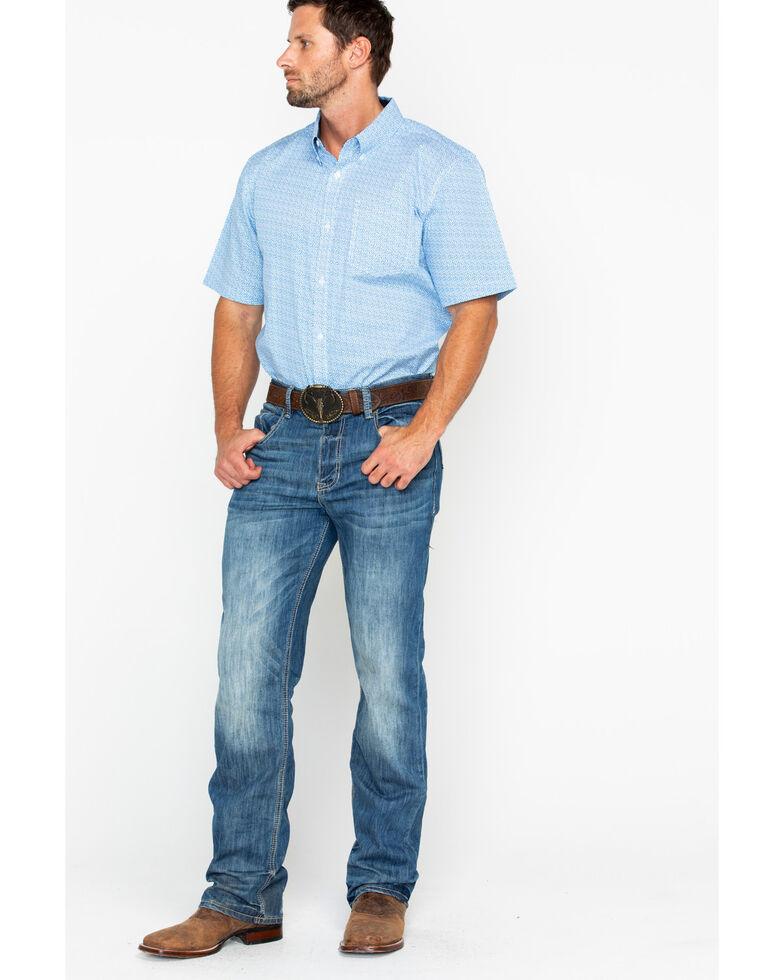 Cody James Core Men's Diamond Mine Print Short Sleeve Western Shirt, Royal Blue, hi-res