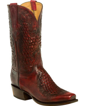 Lucchese Men's Aiden Chocolate Woven Leather Inlay Western Boots - Square Toe, Black Cherry, hi-res