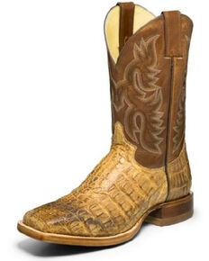 Justin Men's Desert Caiman Leather Western Boots - Wide Square Toe, Brown, hi-res