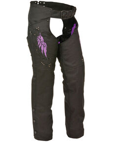 Milwaukee Leather Women's Textile Chap with Wing & Rivet Detailing - 3X, Black/purple, hi-res