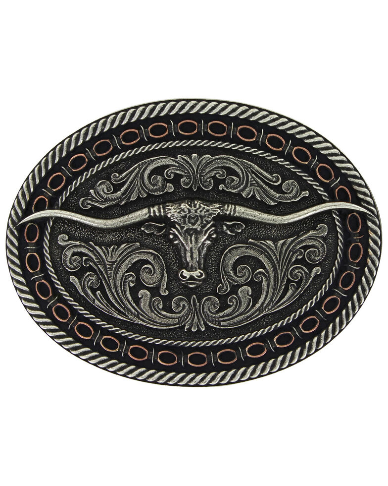 Montana Silversmiths Two Tone Antiqued Round Barbed Longhorn Attitude Buckle , Silver, hi-res