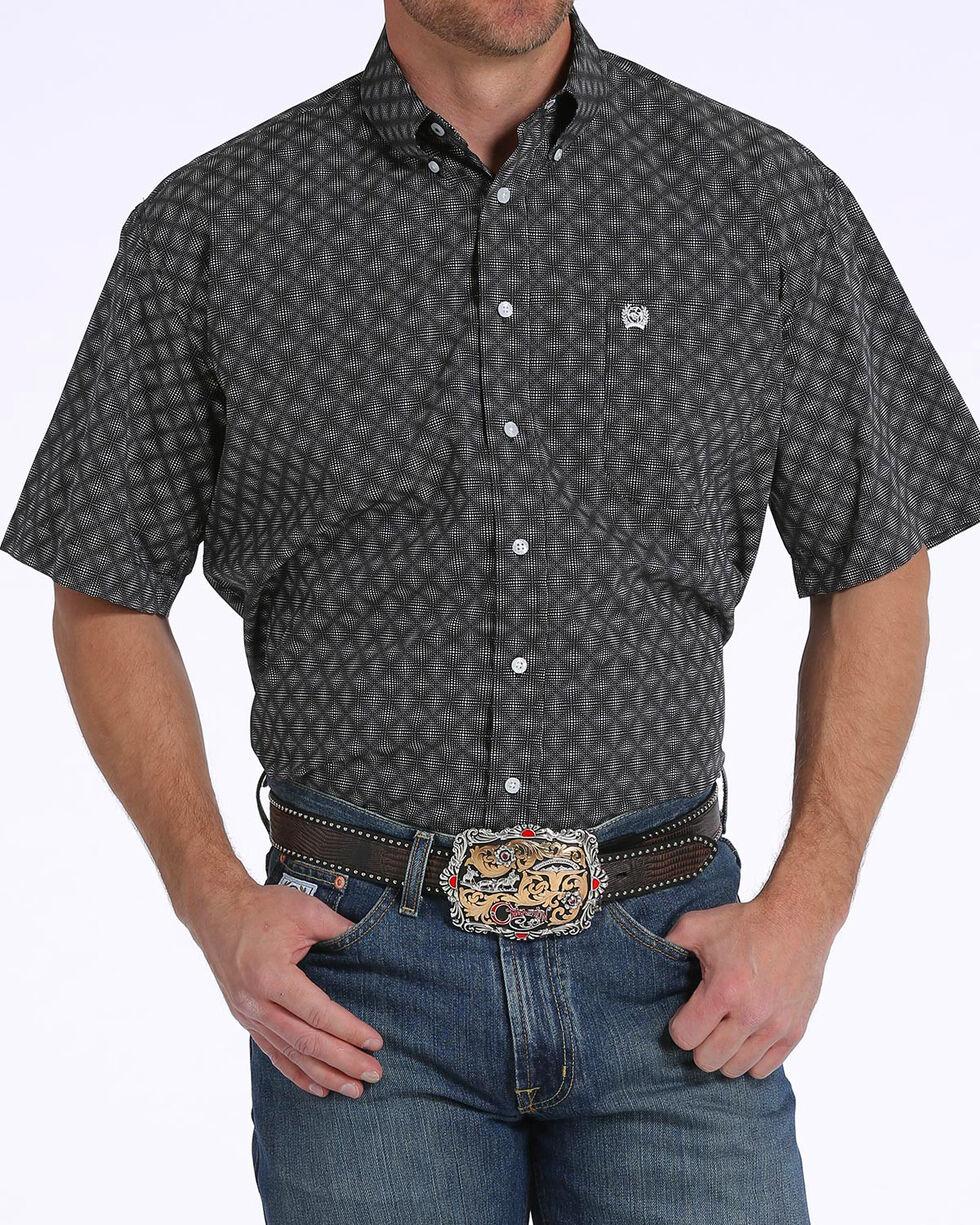 Cinch Men's Black Diamond Print Short Sleeve Button Down Shirt, Black, hi-res