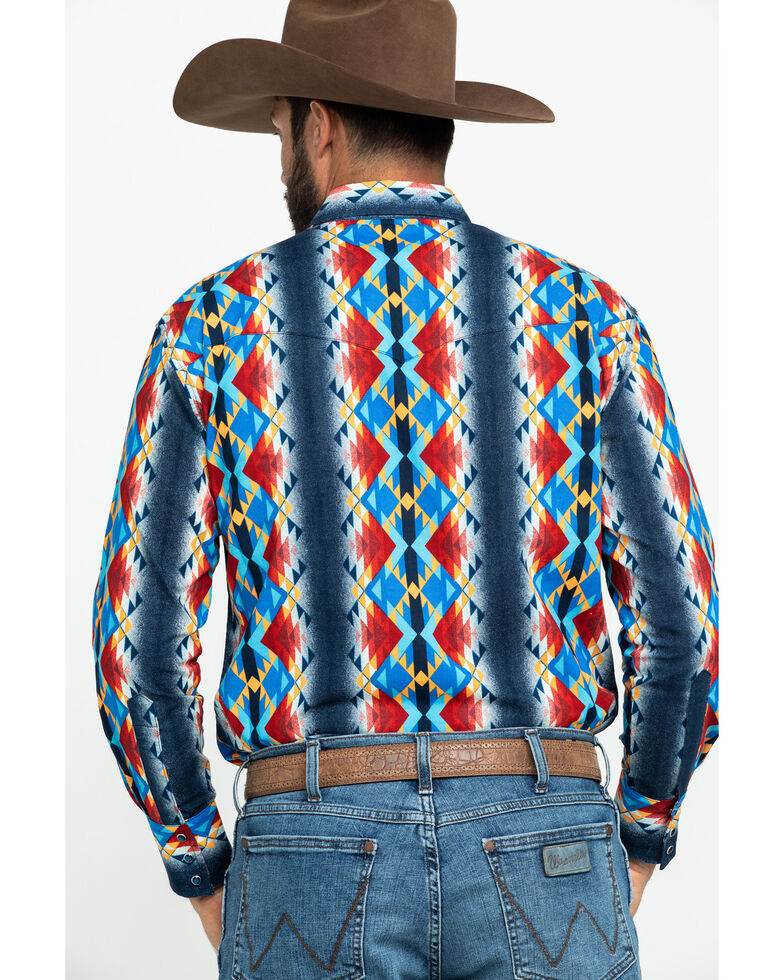 Wrangler Men's Blue Aztec Checotah Print Long Sleeve Western Shirt , Blue, hi-res