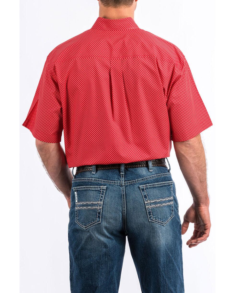 Cinch Men's Red Diamond Geo Print Short Sleeve Western Shirt , Red, hi-res