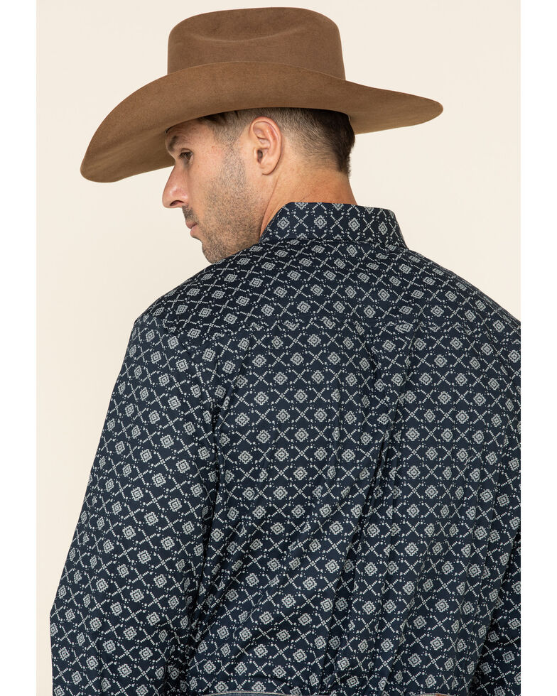Cody James Core Men's Party Turtle Floral Print Long Sleeve Western Shirt , Navy, hi-res