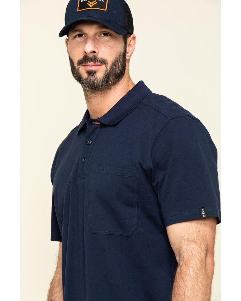 Hawx Men's Navy Miller Pique Short Sleeve Work Polo Shirt - Tall , Navy, hi-res