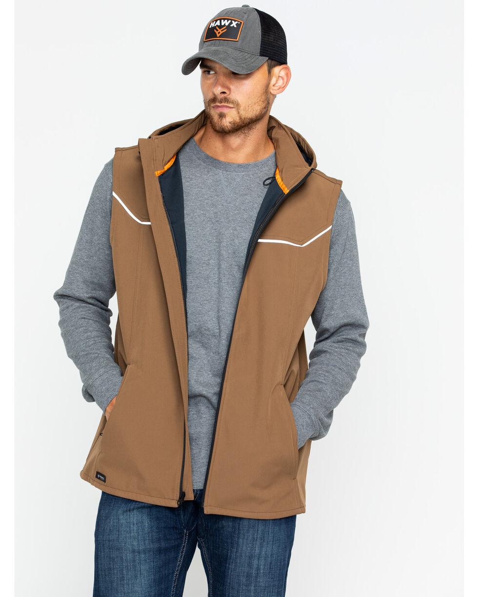 Hawx® Men's Hooded Soft-Shell Work Vest , Brown, hi-res