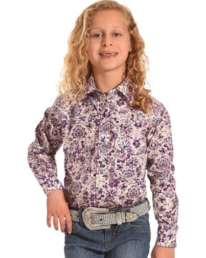 Cowgirl Hardware Girls' Paisley Peacock Long Sleeve Shirt , Purple, hi-res