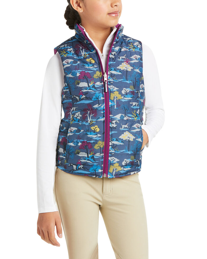 Ariat Girls' Multi Emma Reversible Insulated Vest, Navy, hi-res