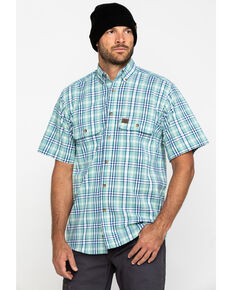 Wrangler Riggs Men's Green Plaid Short Sleeve Work Shirt , Green, hi-res