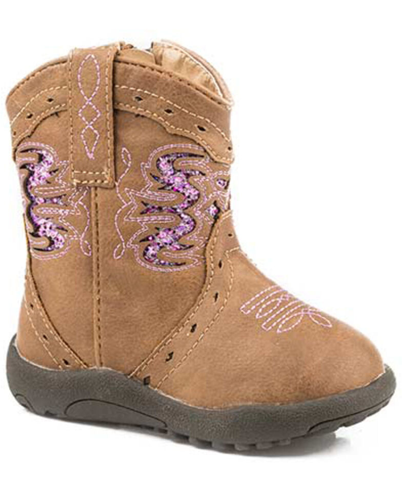Roper Infant Girls' Lexi Western Boots - Round Toe, Tan, hi-res