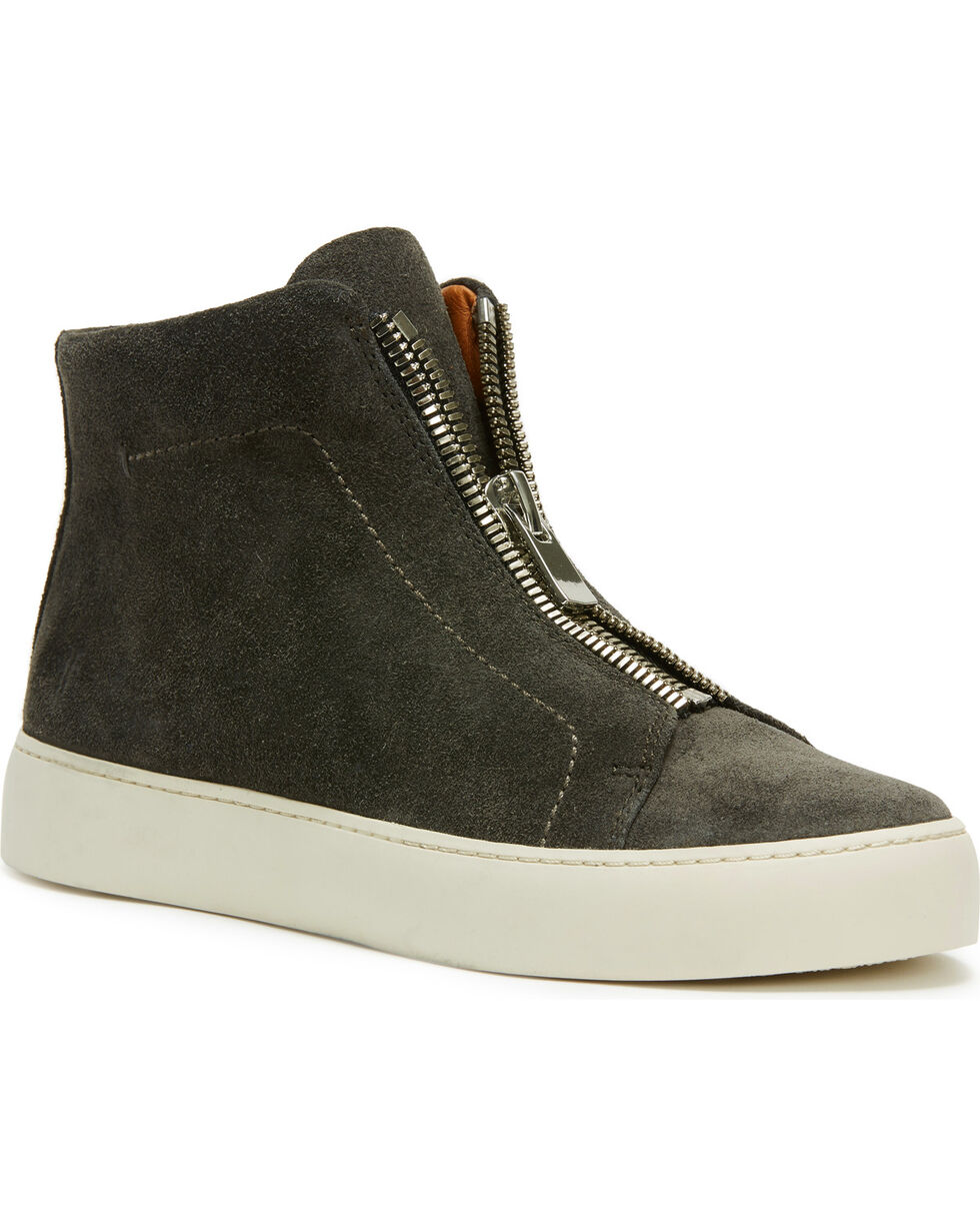 Frye Women's Charcoal Lean Zip High Shoes , Dark Grey, hi-res