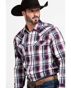 Gibson Men's Wryridge Plaid Long Sleeve Western Shirt , Maroon, hi-res