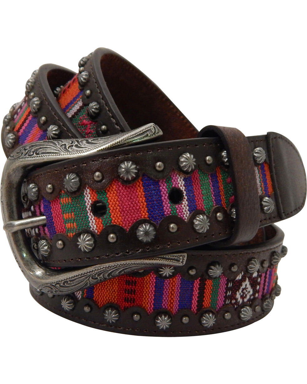 Roper Women's Brown Multicolor Fabric Belt, Brown, hi-res