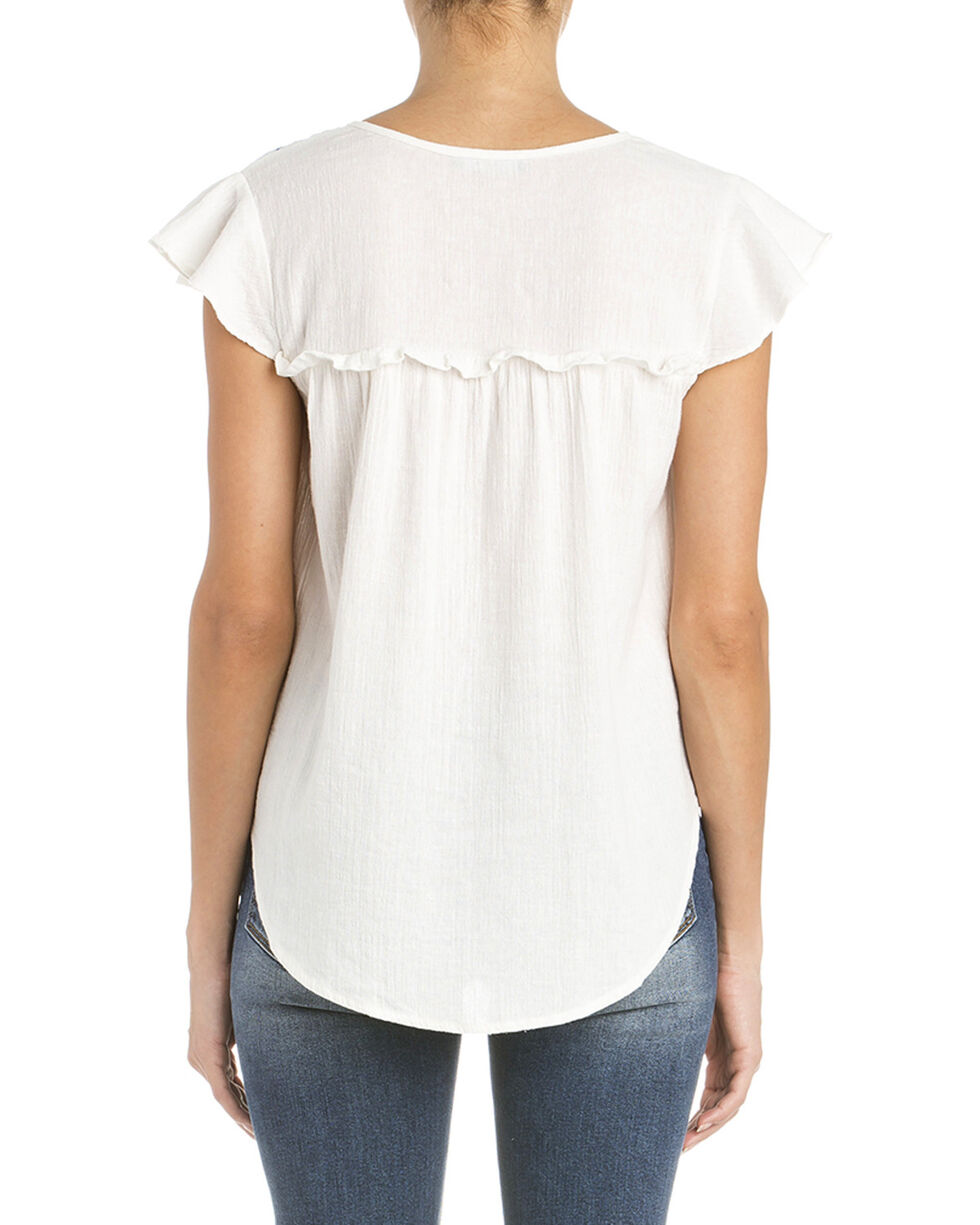 Miss Me Women's Embroidered Short Sleeve Top, White, hi-res