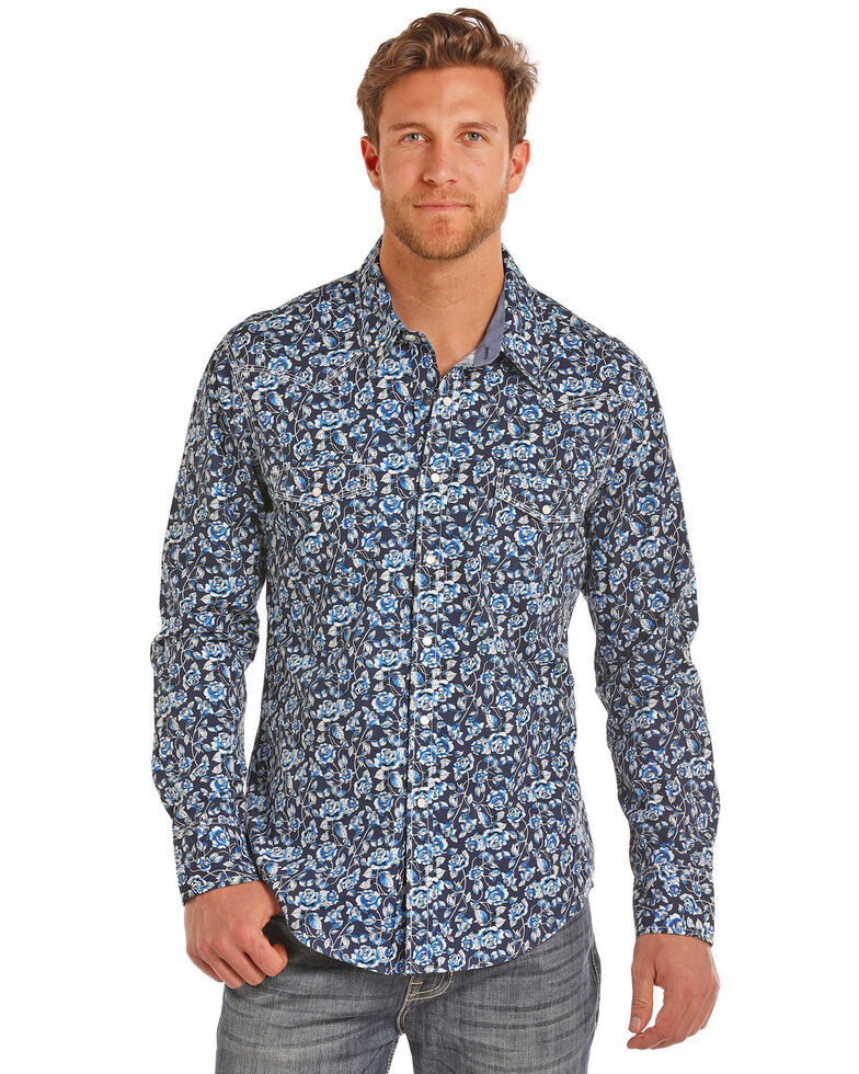 Rock & Roll Cowboy Men's Floral Print Crinkle Wash Long Sleeve Shirt , Light Blue, hi-res