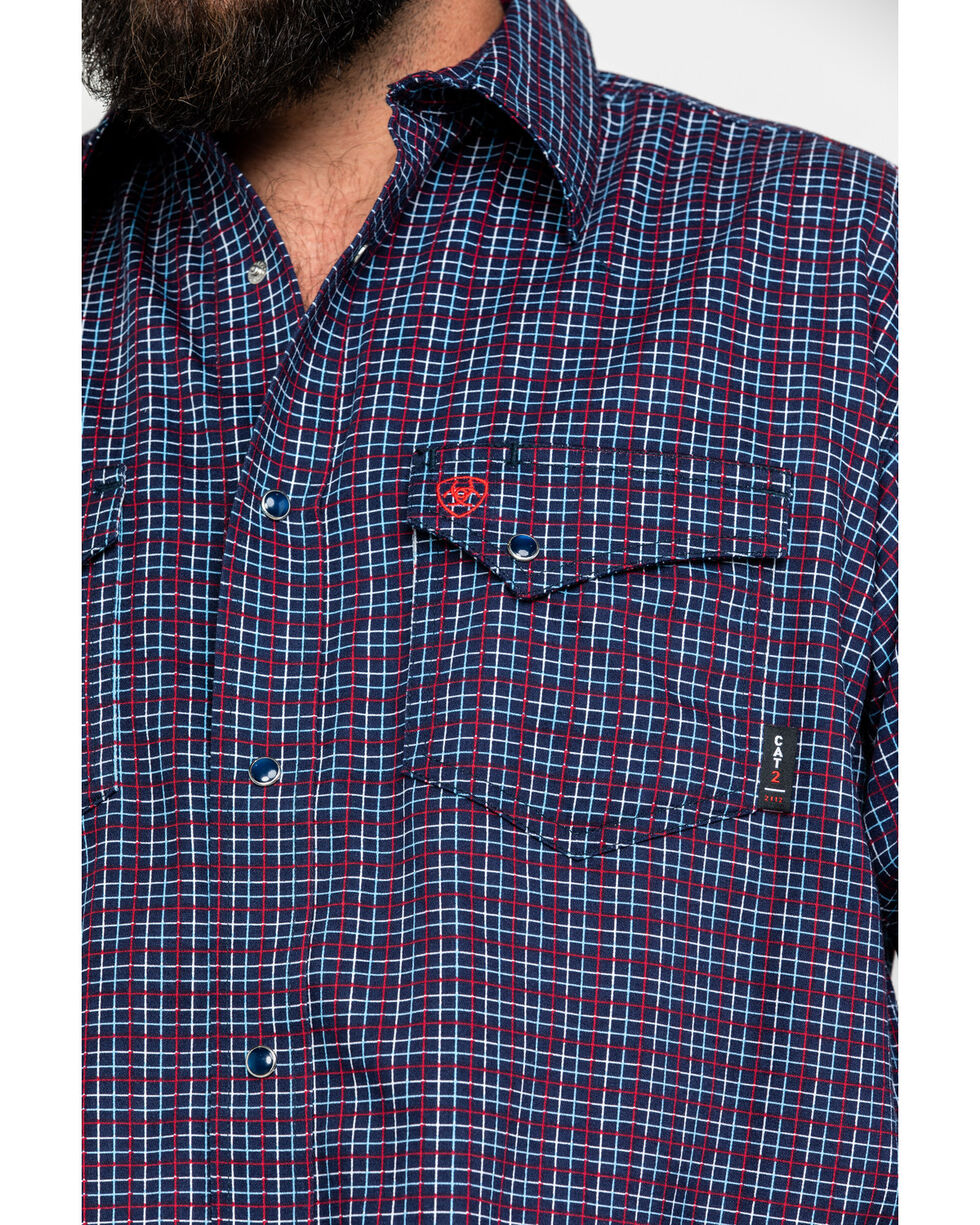 Ariat Men's FR Plainview Checkered Print Long Sleeve Work Shirt - Tall , Navy, hi-res