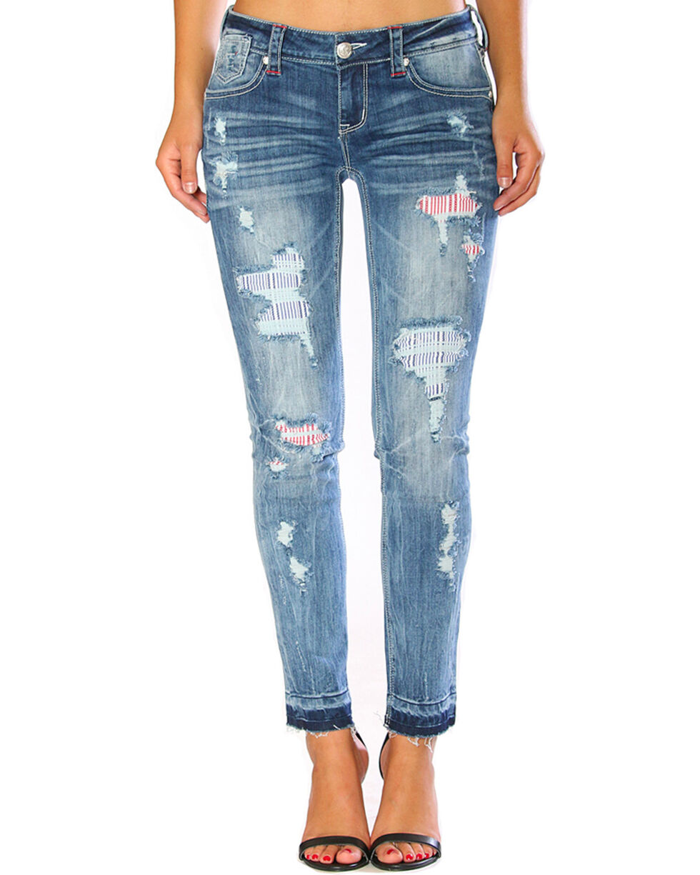 Grace in LA Women's Americana Destructed Release Hem Skinny Jeans, Blue, hi-res