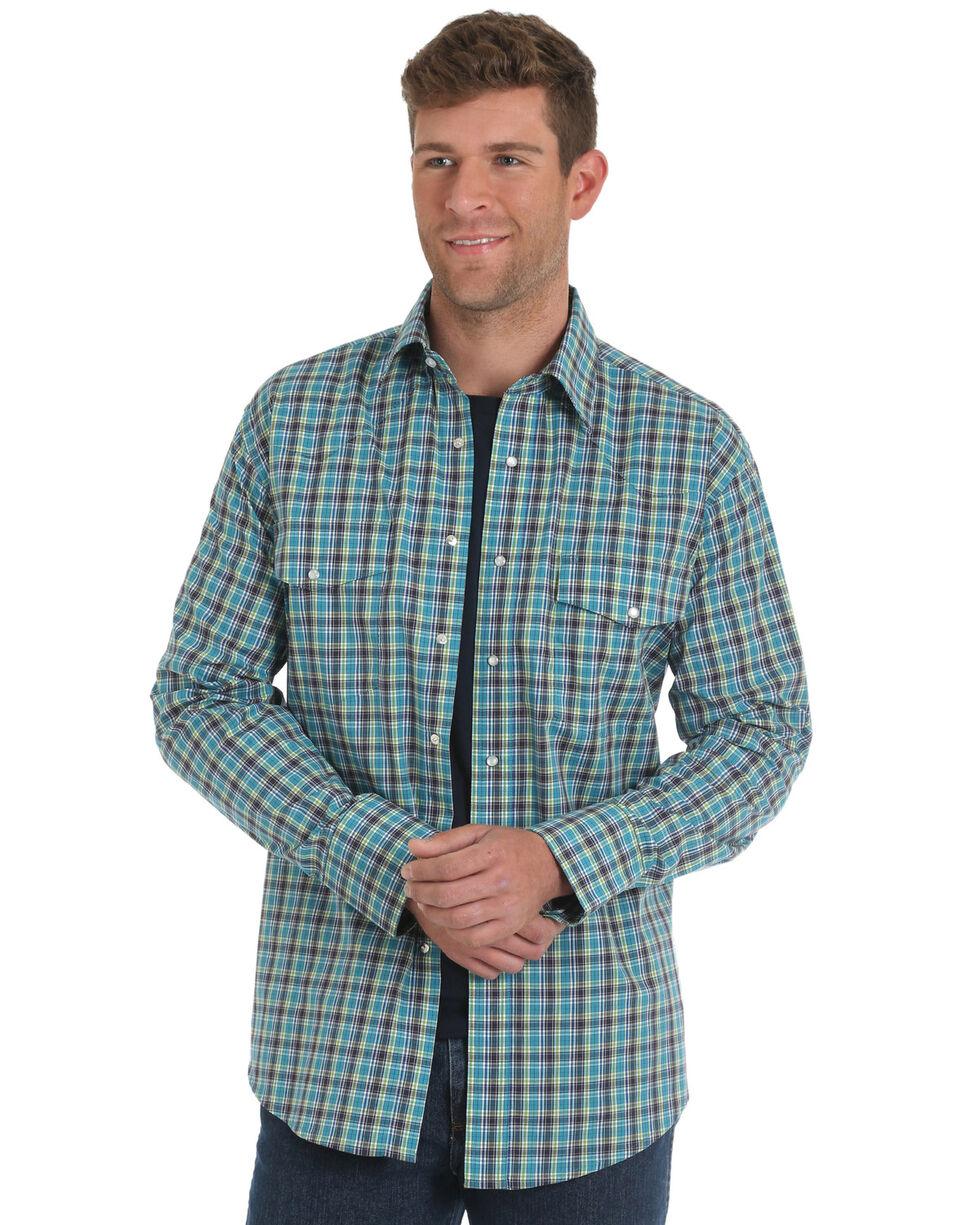 Wrangler Men's Turquoise Wrinkle Resistant Plaid Western Shirt - Tall , , hi-res