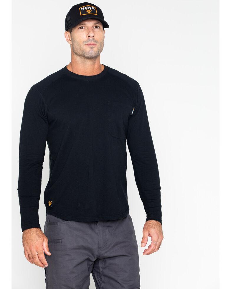 Hawx Men's Solid Pocket Crew Long Sleeve Work T-Shirt - Big & Tall , Black, hi-res