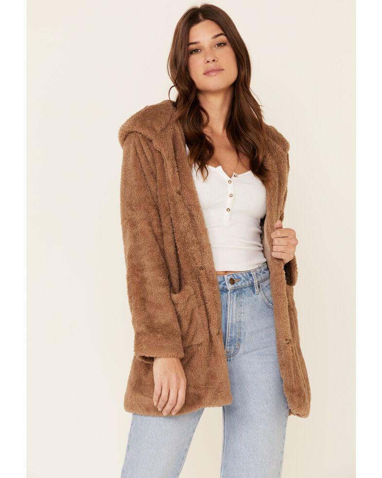 Very J Women's Teddy Zip-Up Hooded Cardigan , Brown, hi-res
