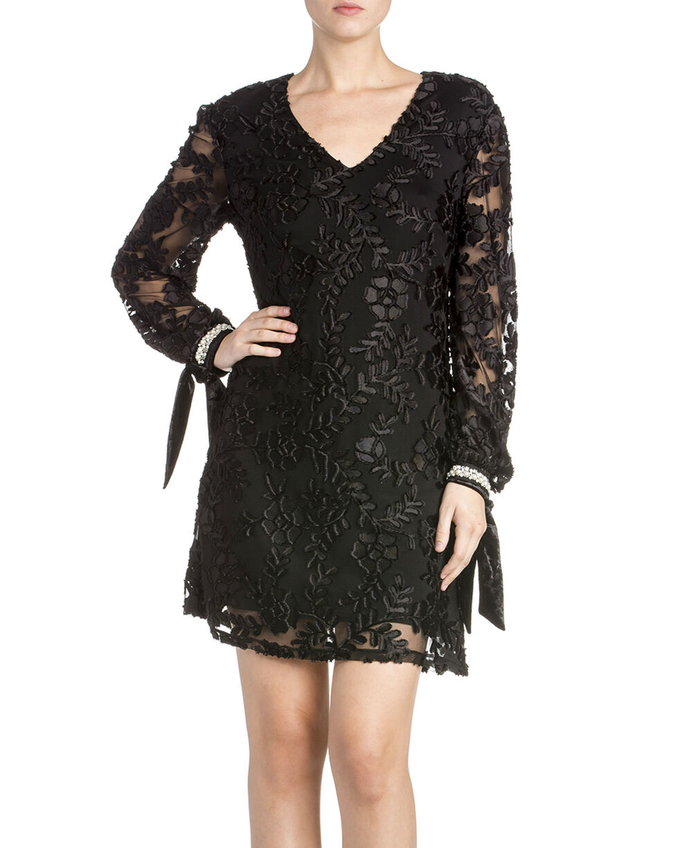 Miss Me Women's Floral Sheer Dress, Black, hi-res