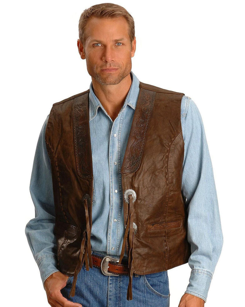 Kobler Tooled Leather Vest, Acorn, hi-res