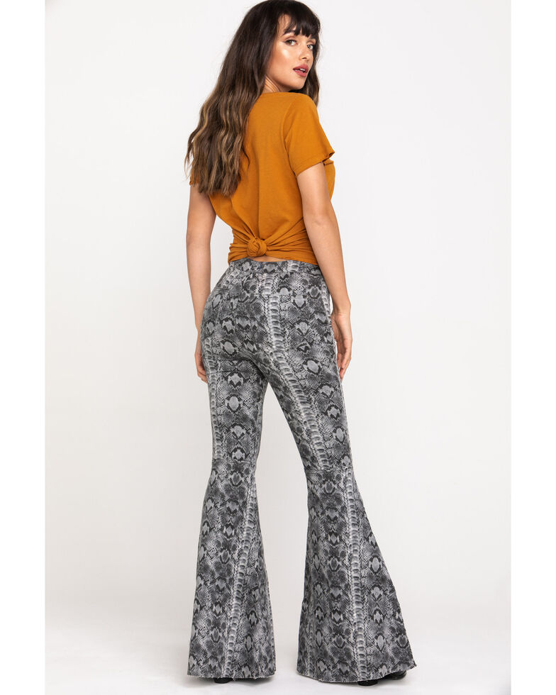 Free People Women's Snake Print Just Float On Flare Pants, Grey, hi-res