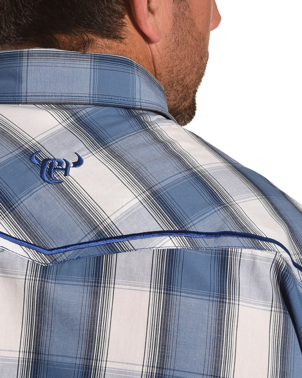 Cowboy Hardware Men's Blue Hombre Plaid Shirt , Steel Blue, hi-res